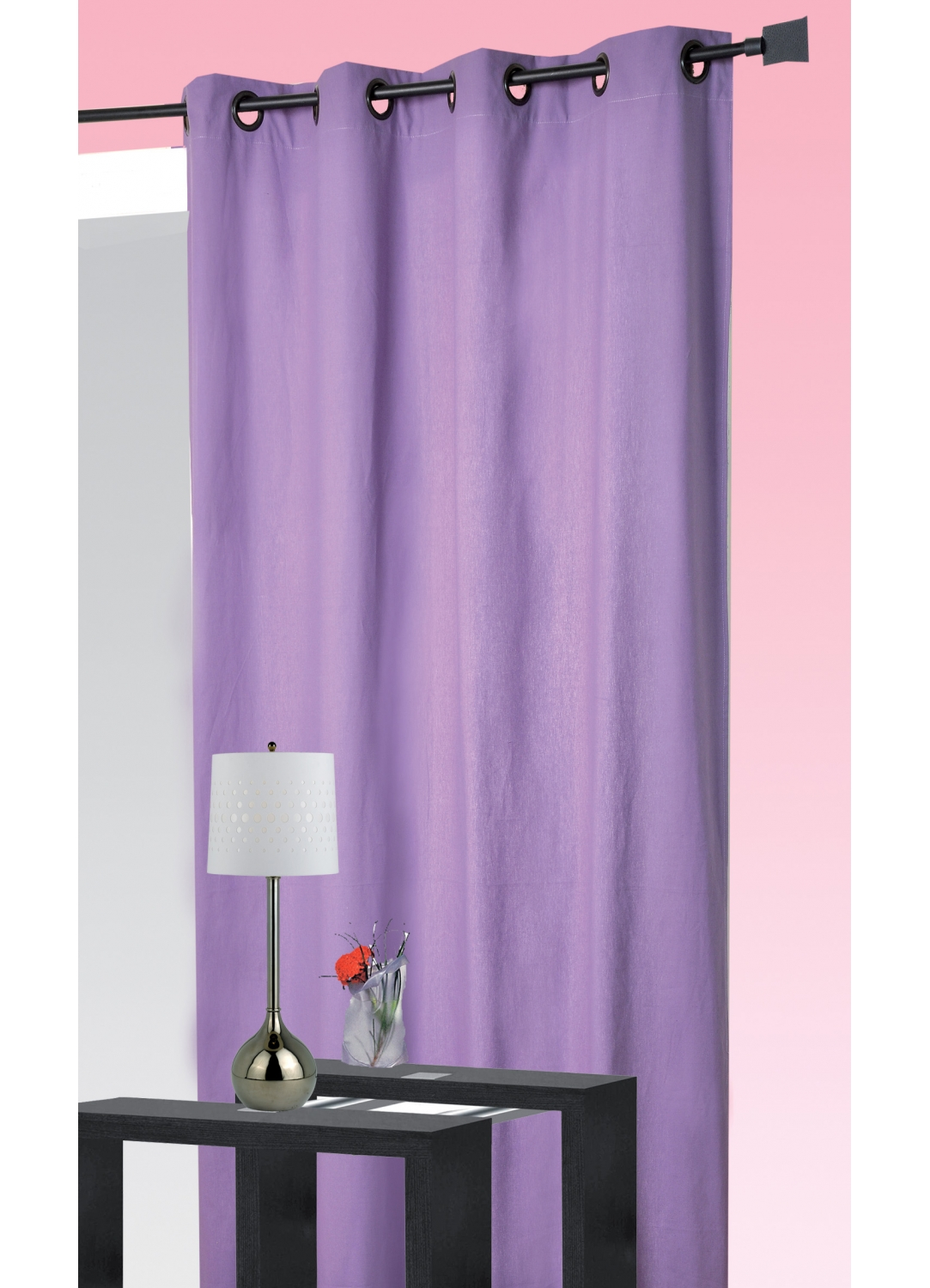 rideau coton uni oeillets lilas vert rubis. Black Bedroom Furniture Sets. Home Design Ideas