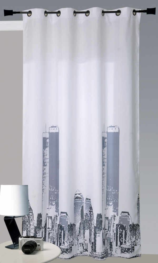 Rideau en Bachette Imprimé 'New York' (Blanc)