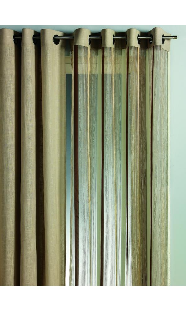 Rideau en Organza Rayures Verticales - Beige - 140 x 260cm