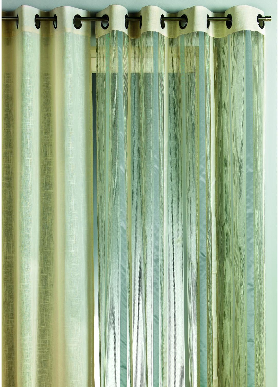 rideau en organza rayures verticales gris beige anis piment homemaison vente en