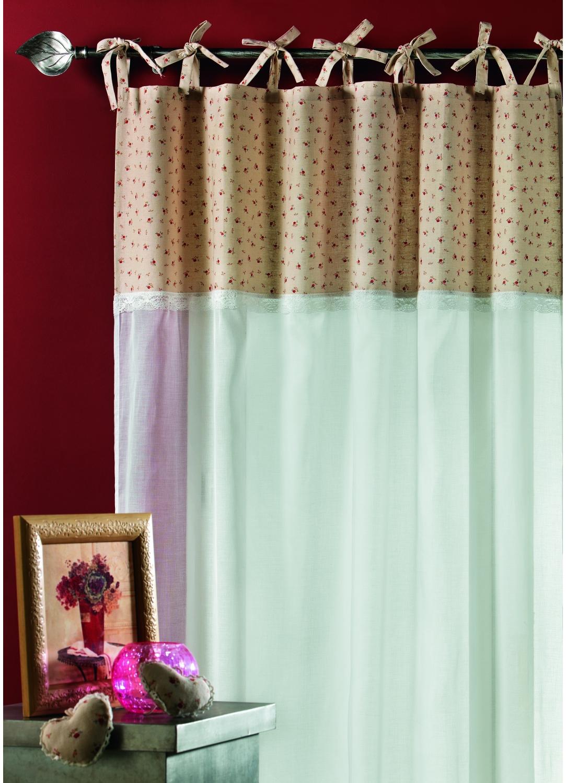 rideau en voile de coton avec parement imprim ivoire homemaison vente en ligne voilages. Black Bedroom Furniture Sets. Home Design Ideas
