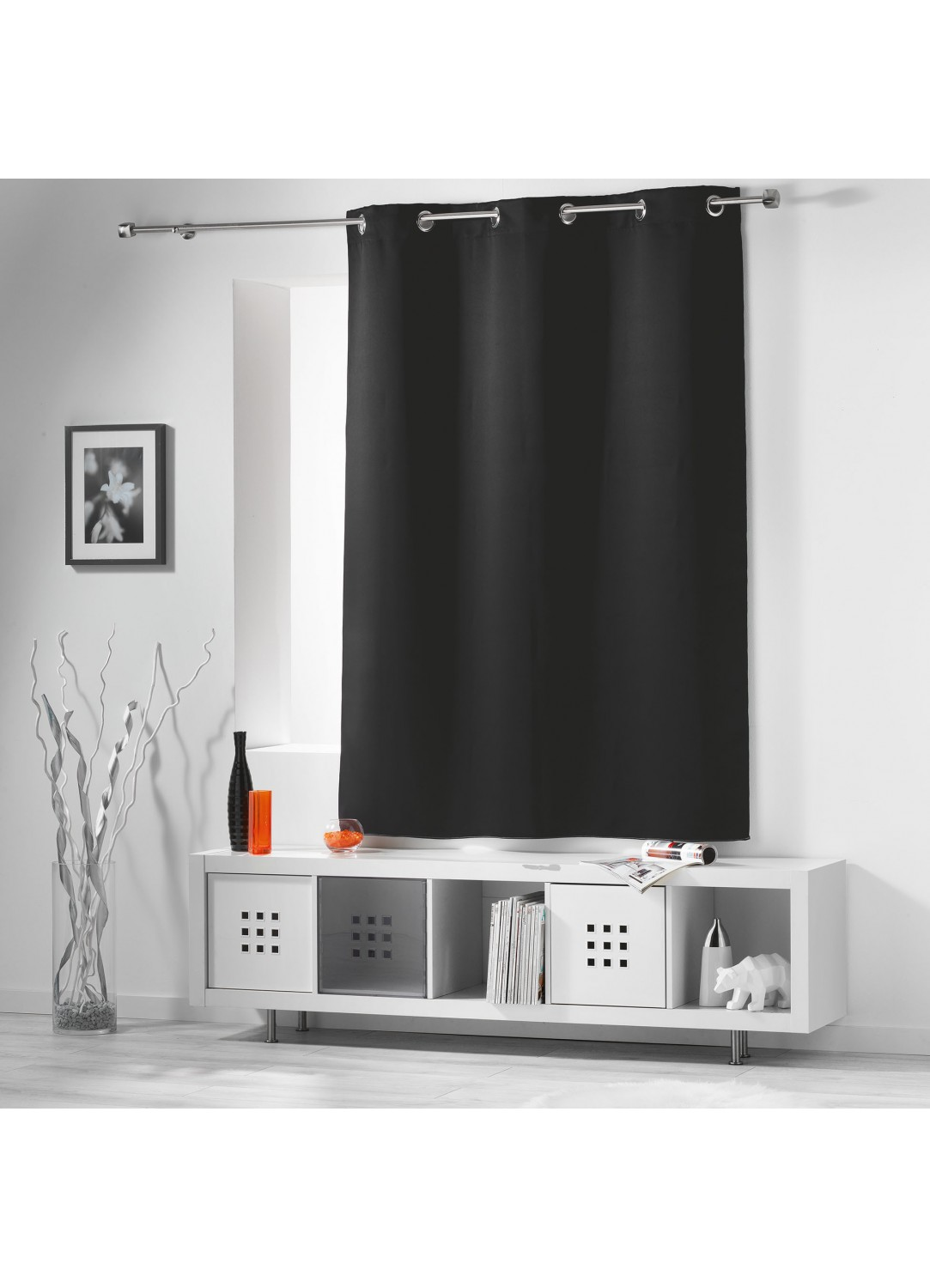 rideau occultant radiateur petite hauteur noir drag e. Black Bedroom Furniture Sets. Home Design Ideas