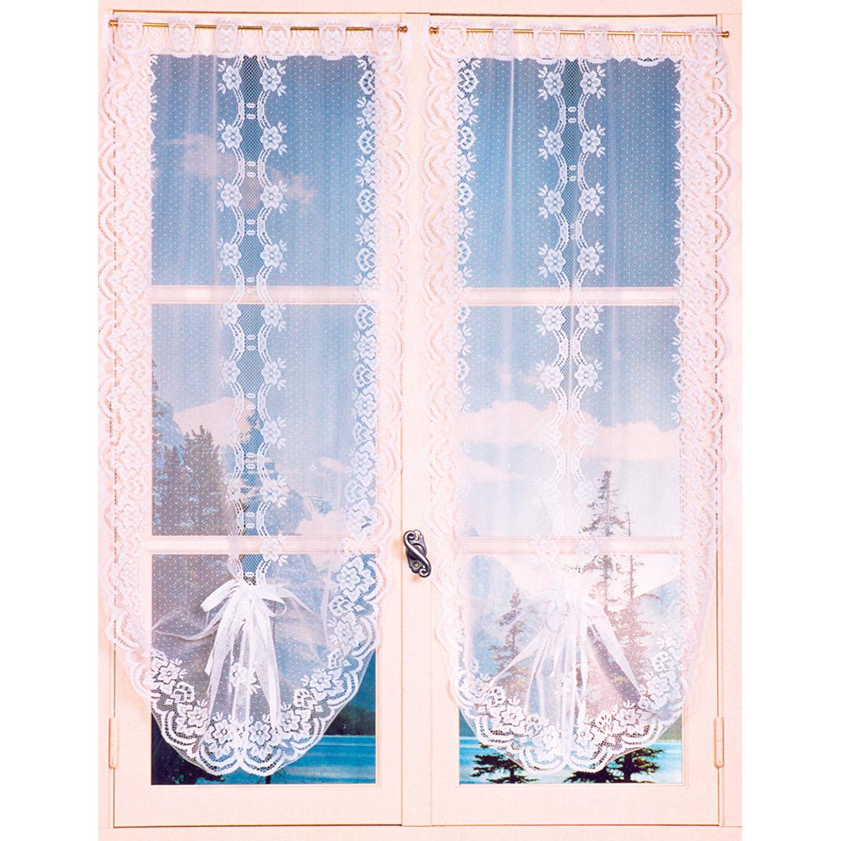 Paire de vitrages festonnés et relevables (Blanc)