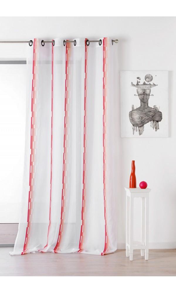 Voilage à rayures avec oeillets - orange et blanc - 140 x 260 cm