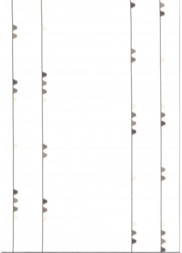 Voilage blanc avec dessins pyramide et oeillet - Blanc et Gris - 140 x 260 cm
