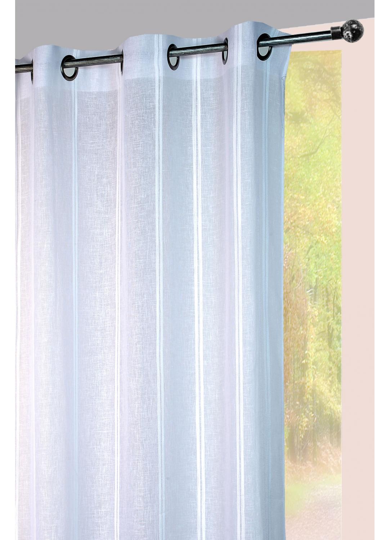 Voilage à rayures verticales sergées ton sur ton (Blanc)