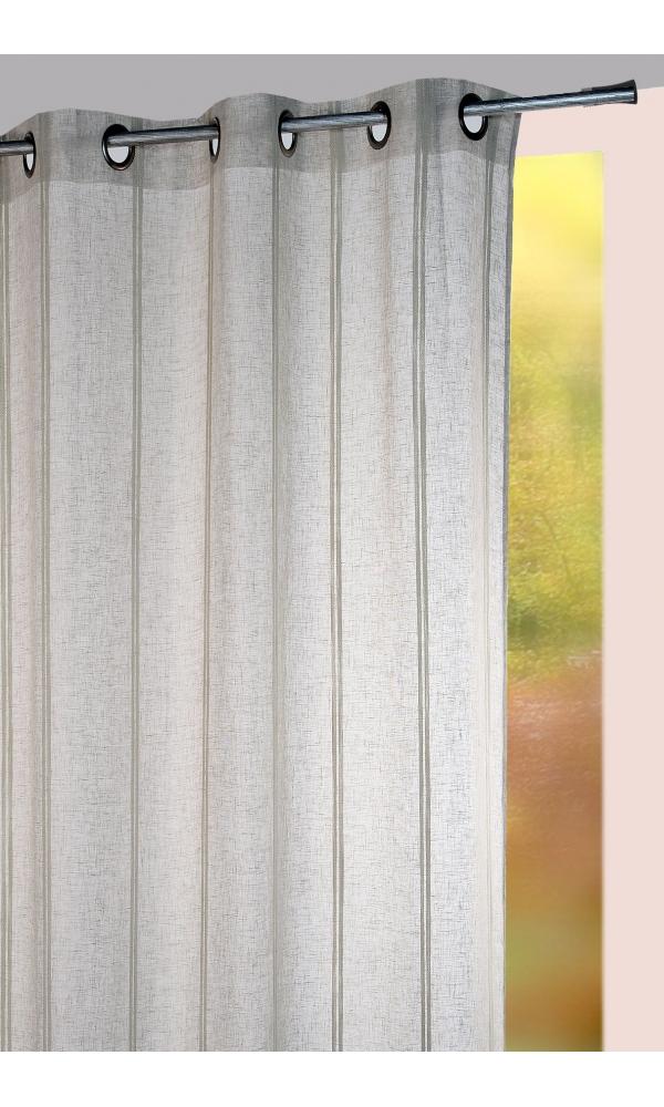 Voilage à rayures verticales sergées ton sur ton - Gris - 140 x 280 cm