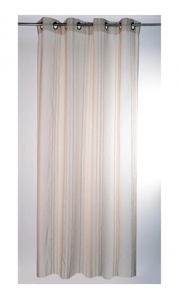 Voilage naturel à rayures verticales - Beige - 145 x 280 cm