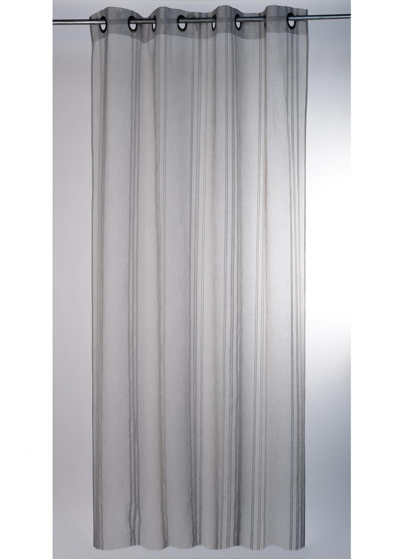 Voilage naturel à rayures verticales (Gris)