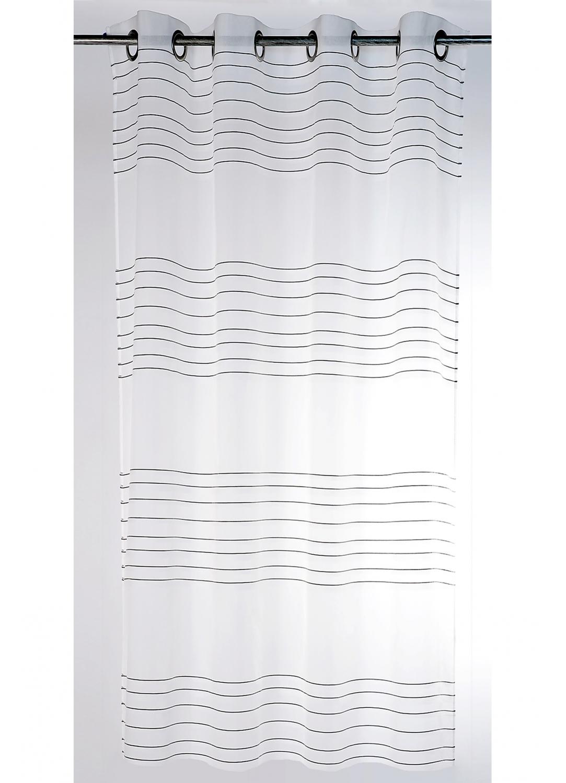 Voilage transparent à fileté horizontal