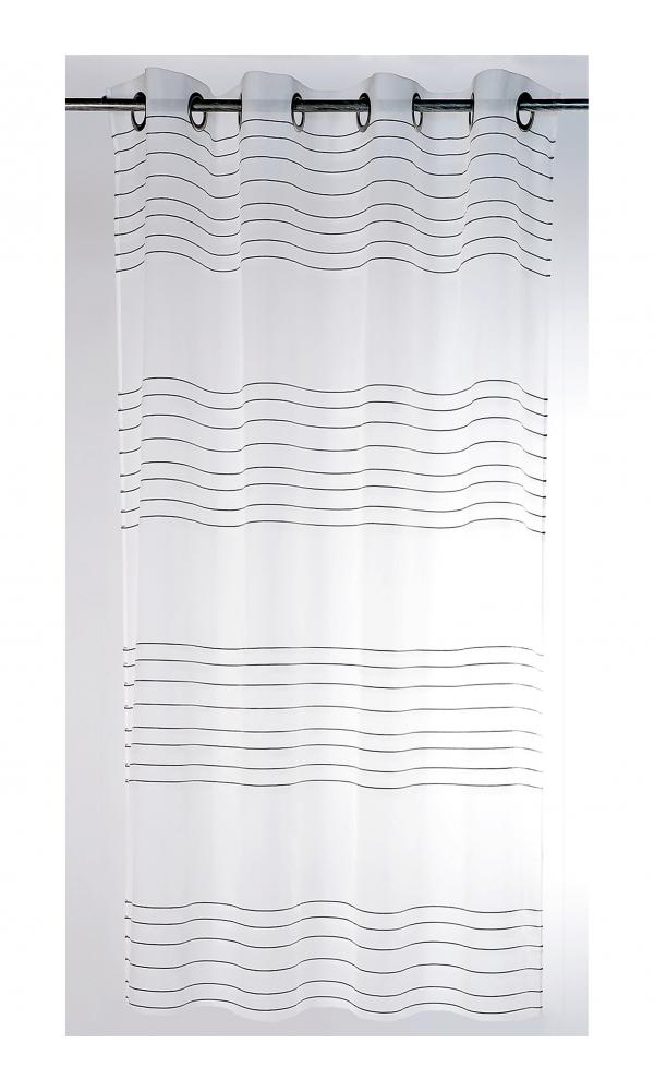 Voilage transparent à fileté horizontal (blanc / noir)