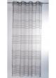 Voilage transparent à fileté horizontal  gris et noir