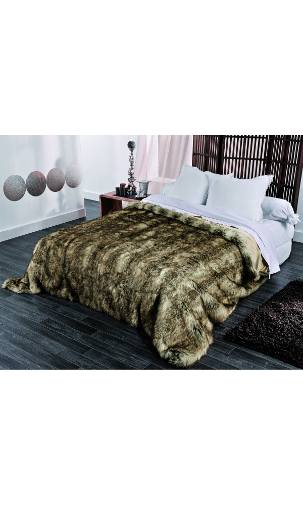 jet de lit en fausse fourrure grizzly beige homemaison vente en ligne couvertures et plaids. Black Bedroom Furniture Sets. Home Design Ideas