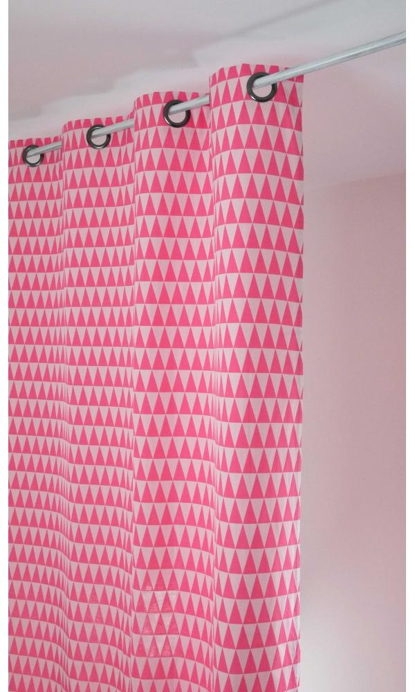 Rideau en jacquard à imprimés triangulaires - rose et blanc - 135 x 260 cm