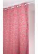 Rideau en jacquard à imprimés fleuris et colorés  rose et ficelle