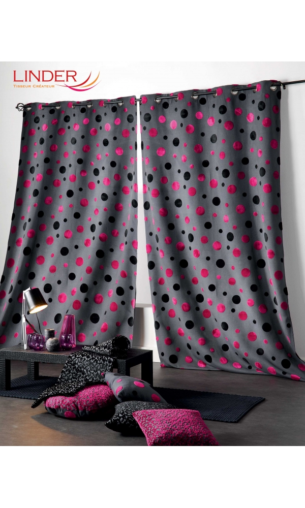 rideau dessins aspect velours framboise violet et gris gris et blanc homemaison. Black Bedroom Furniture Sets. Home Design Ideas