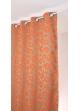 Rideau en jacquard à imprimés fleuris et colorés  orange et ficelle