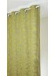Rideau en jacquard à imprimés fleuris et colorés  vert anis et ficelle