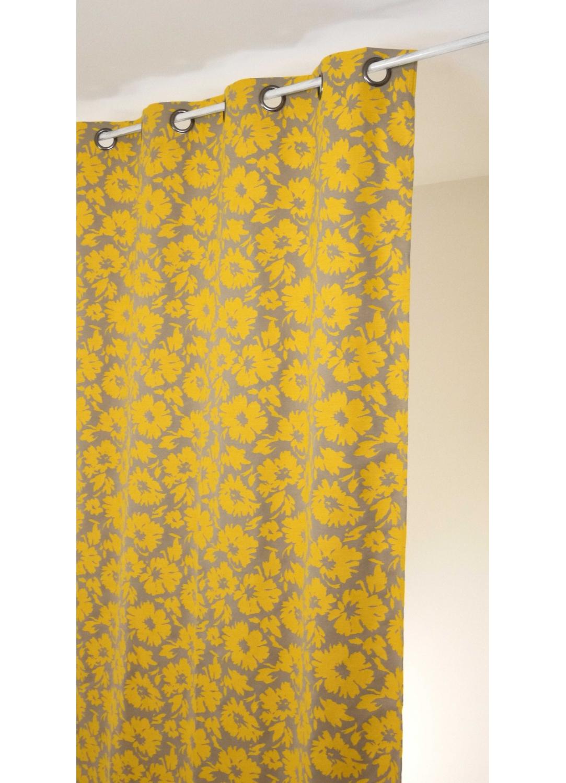 Rideau en jacquard imprim s fleuris et color s jaune et - Rideau jaune et blanc ...