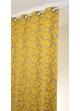 Rideau en jacquard à imprimés fleuris et colorés  jaune et ficelle