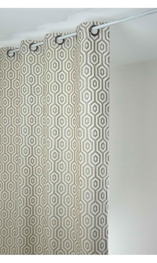 Rideau en jacquard à imprimés géométriques  (Beige)