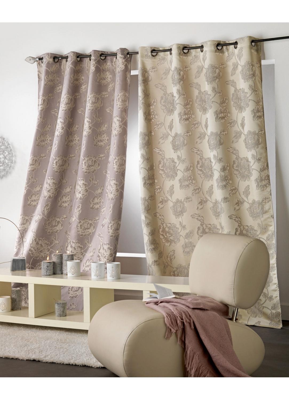 Rideau en jacquard imprim s fleuris fleurs beige ocre sur toile grise perle fleurs grises for Rideaux imprimes