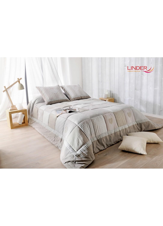 jet de lit ouatin gris et beige avec taie d oreiller gris et beige homemaison vente en. Black Bedroom Furniture Sets. Home Design Ideas