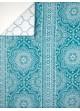 Plaid en Boutis Esprit Mandala avec Imprimés Rosaces   bleu et blanc