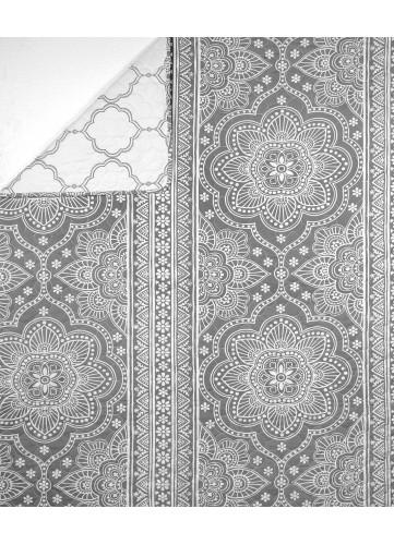 Plaid en Boutis Esprit Mandala avec Imprimés Rosaces - gris et blanc - 230 x 250 cm