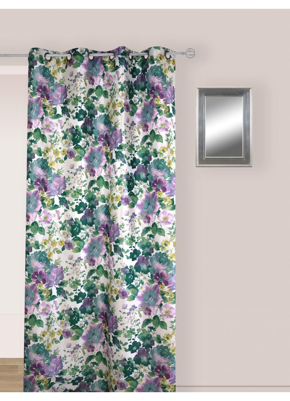 Rideau Multicolore en Jacquard aux Motifs Fleuris (Multicolore avec des tendances de Vert et Bleu)