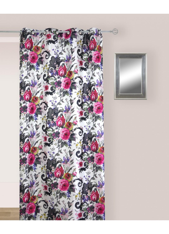 Rideau en Jacquard aux Motifs Fleuris  (Multicolore avec des tendances de Fuschia et Noir)