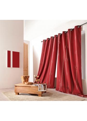 Rideau jacquard montagnard à motifs coeurs (Rouge)