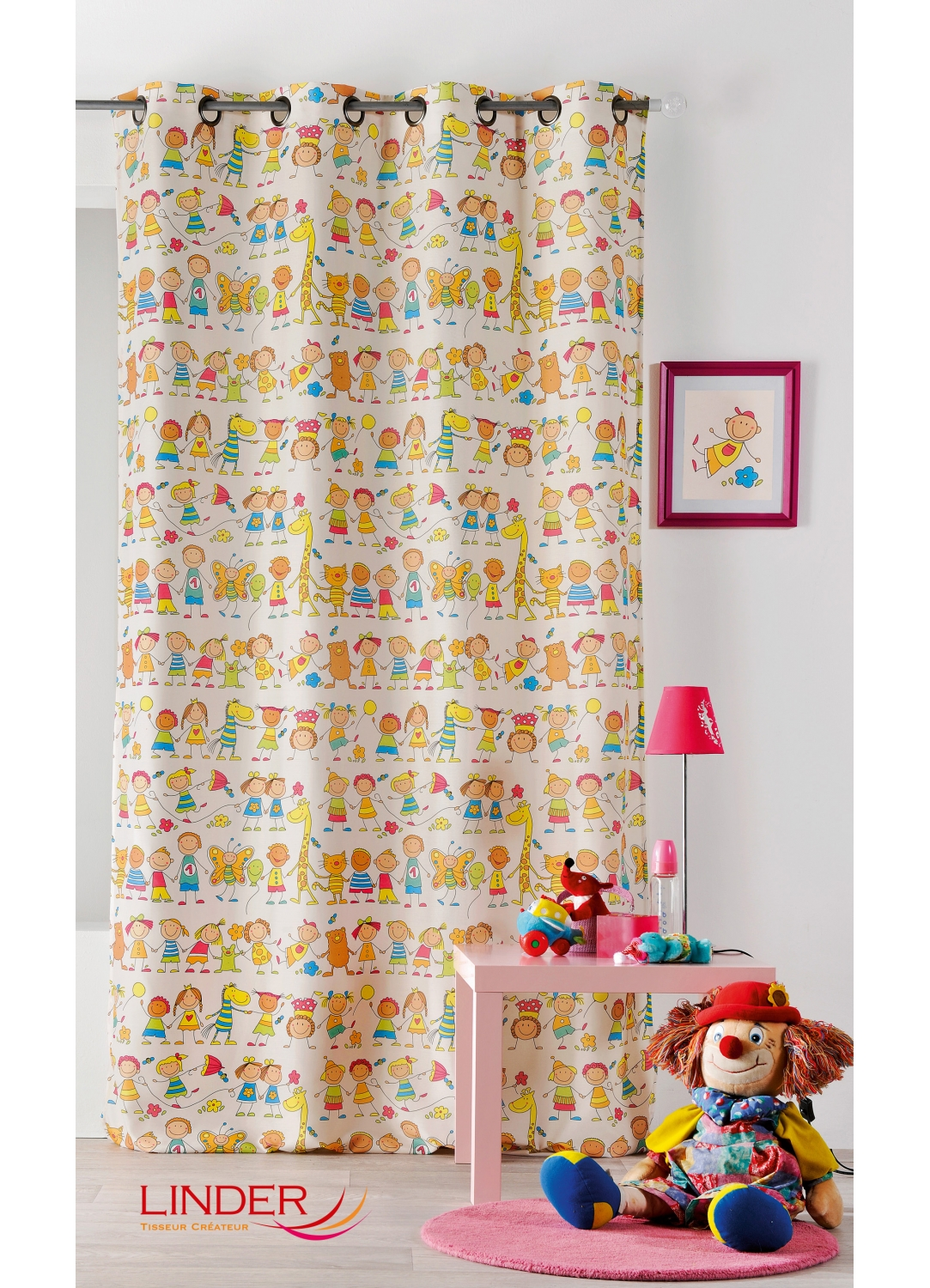 rideau multicolore pour enfant imprim s girafe multicolore homemaison vente en ligne. Black Bedroom Furniture Sets. Home Design Ideas