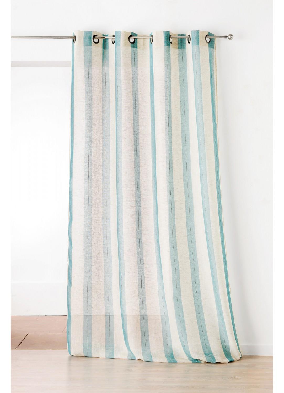 voilage fantaisie avec des rayures verticales couleur lin et bleu canard couleur lin et ocre