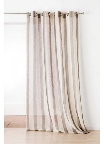 Voilage Fantaisie avec des Rayures Verticales - Couleur Lin et Gris Clair - 150 x 280 cm