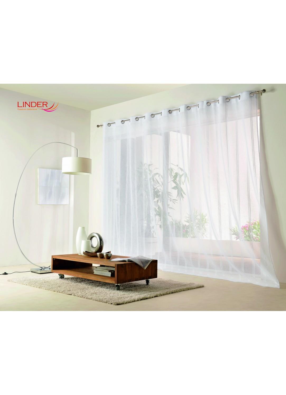 Voilage rayures verticales largeur xxl blanc homemaison vente en ligne voilages - Voilage blanc grande largeur ...