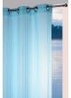 Voilage fantaisie aspect fileté rayures verticales  Bleu