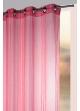 Voilage fantaisie aspect fileté rayures verticales  Rose