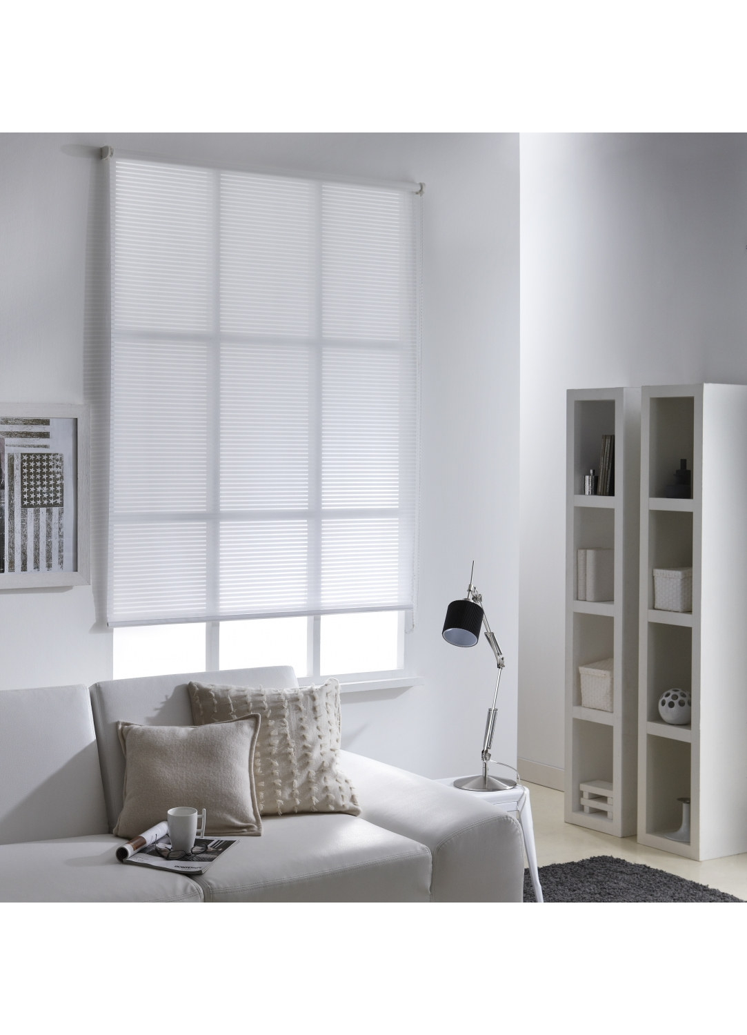 store enrouleur voile rayure ajour blanc homemaison. Black Bedroom Furniture Sets. Home Design Ideas
