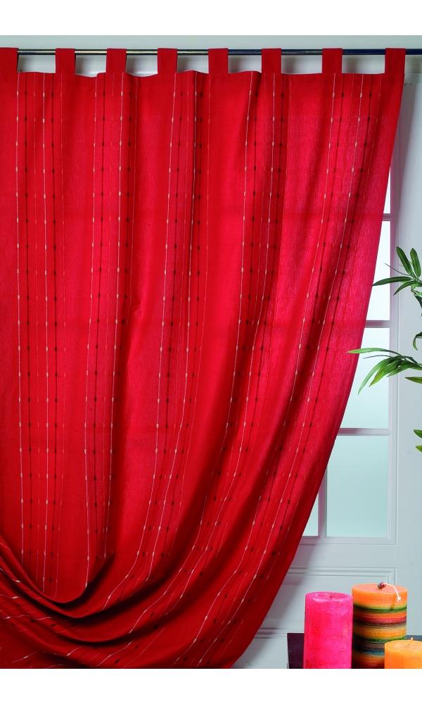 rideau coton et lin rayures verticales rouge chocolat homemaison vente en ligne rideaux. Black Bedroom Furniture Sets. Home Design Ideas
