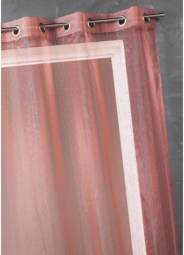Voilage Organza fantaisie goutte métallique - Rouge - 150 x 260 cm