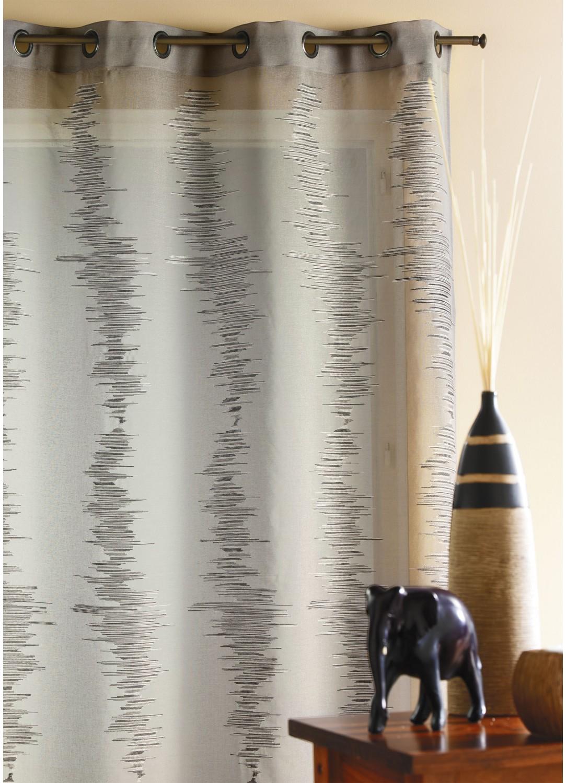 rideau tamine brod e zigzag gris homemaison vente en ligne voilages. Black Bedroom Furniture Sets. Home Design Ideas