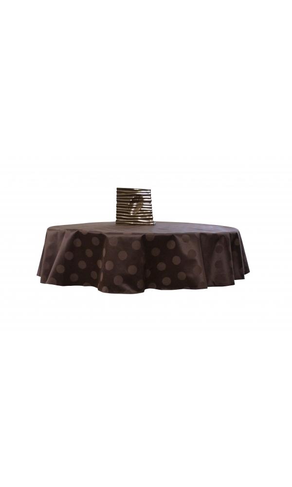 Nappe ronde damassé uni (Chocolat)