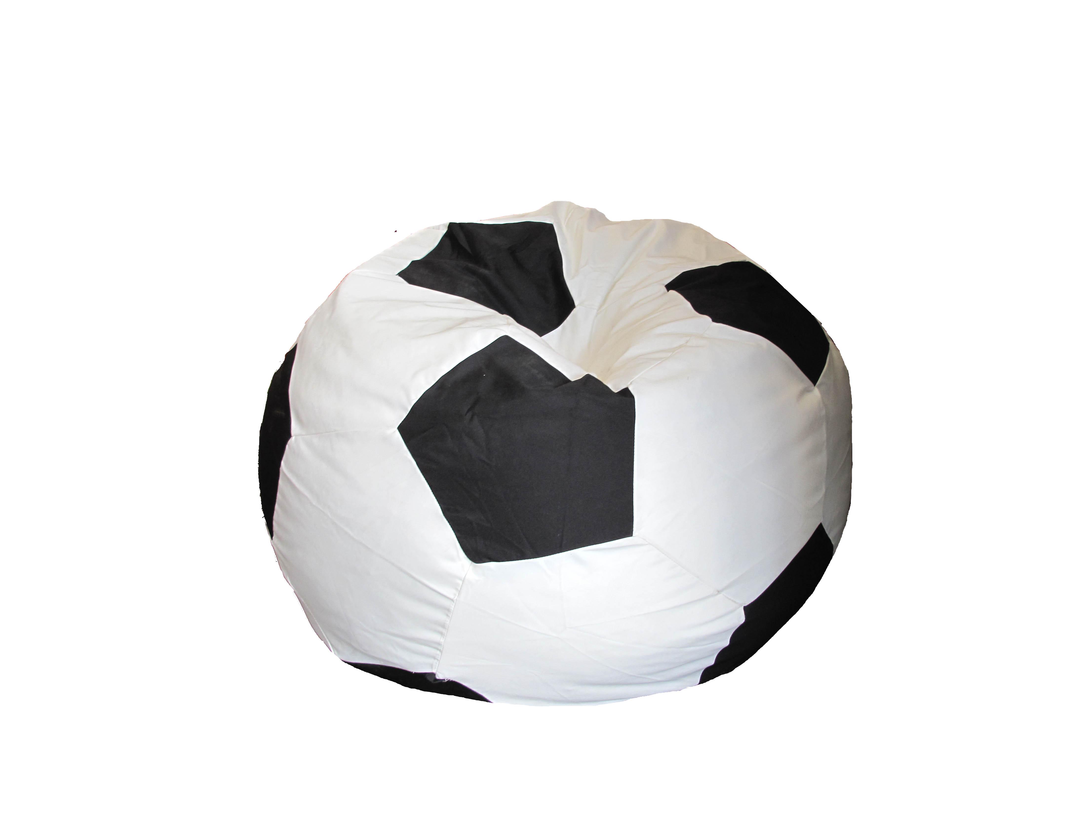 Pouf façon Ballon de Foot - Noir / Blanc - Diamètre 80 cm