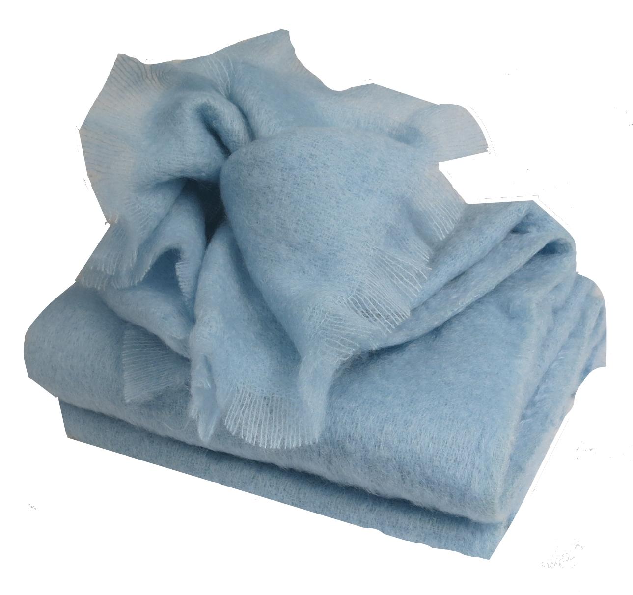 Plaid en Laine Mérinos Très Douce - Bleu - 130x180