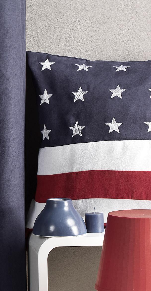 Coussin en Suédine motif 'USA' (Bleu)