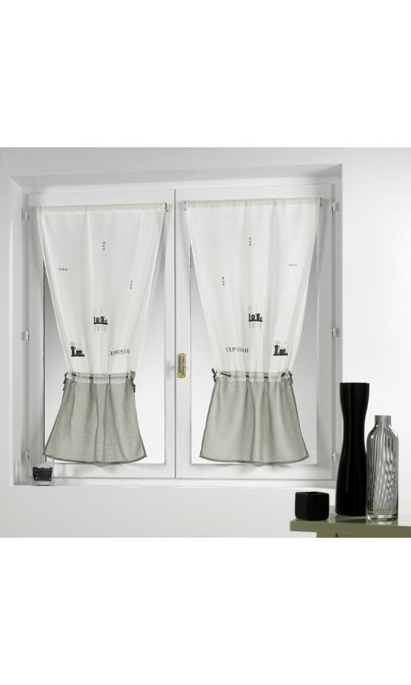 paire de voilage etamine avec broderie expresso gris homemaison vente en ligne petits. Black Bedroom Furniture Sets. Home Design Ideas