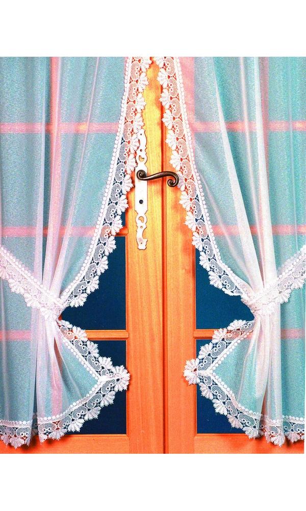 Rideau 'Bonne Femme' Etamine Bordure Macramée (Blanc)