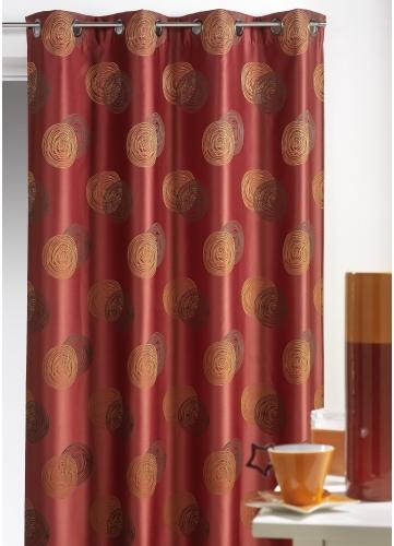 rideau bouchara jacquard ronds superpos s bordeaux beige gris chocolat homemaison. Black Bedroom Furniture Sets. Home Design Ideas
