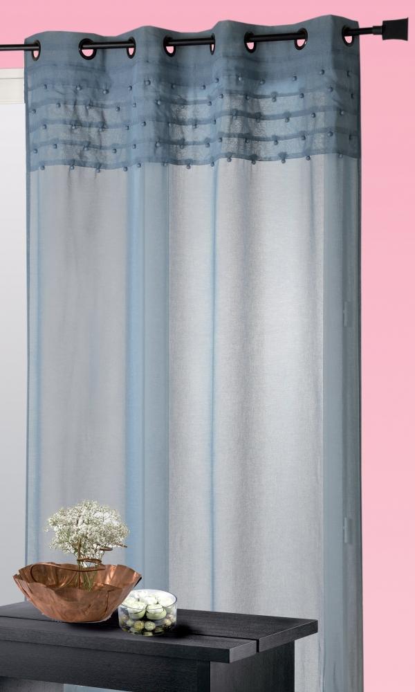 Rideau Etamine perles cousues dans le haut (Bleu)